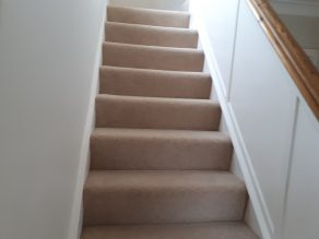 Natural 80 20 twist pile carpet stairs