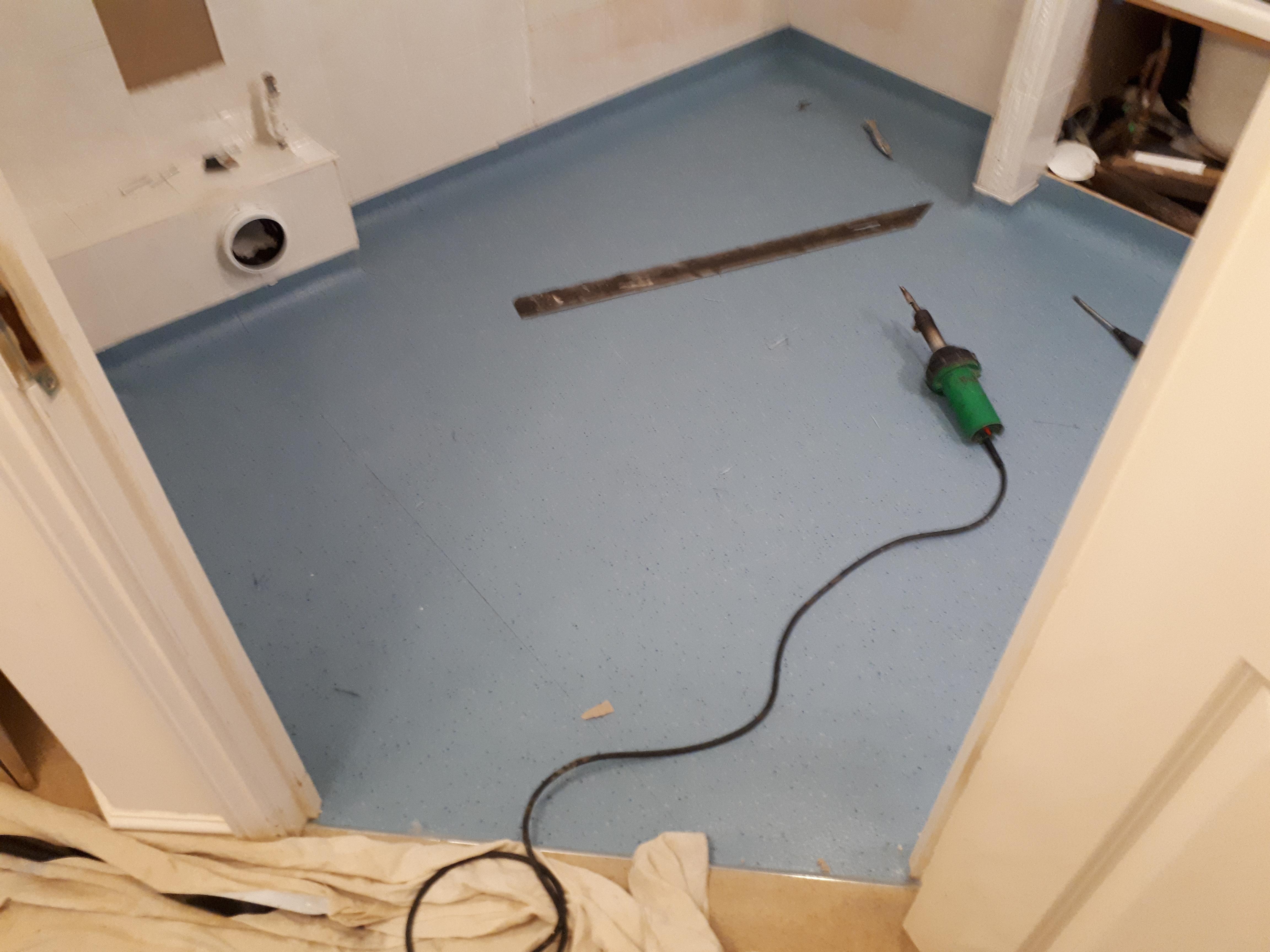 Wet room safety flooring to walk in shower