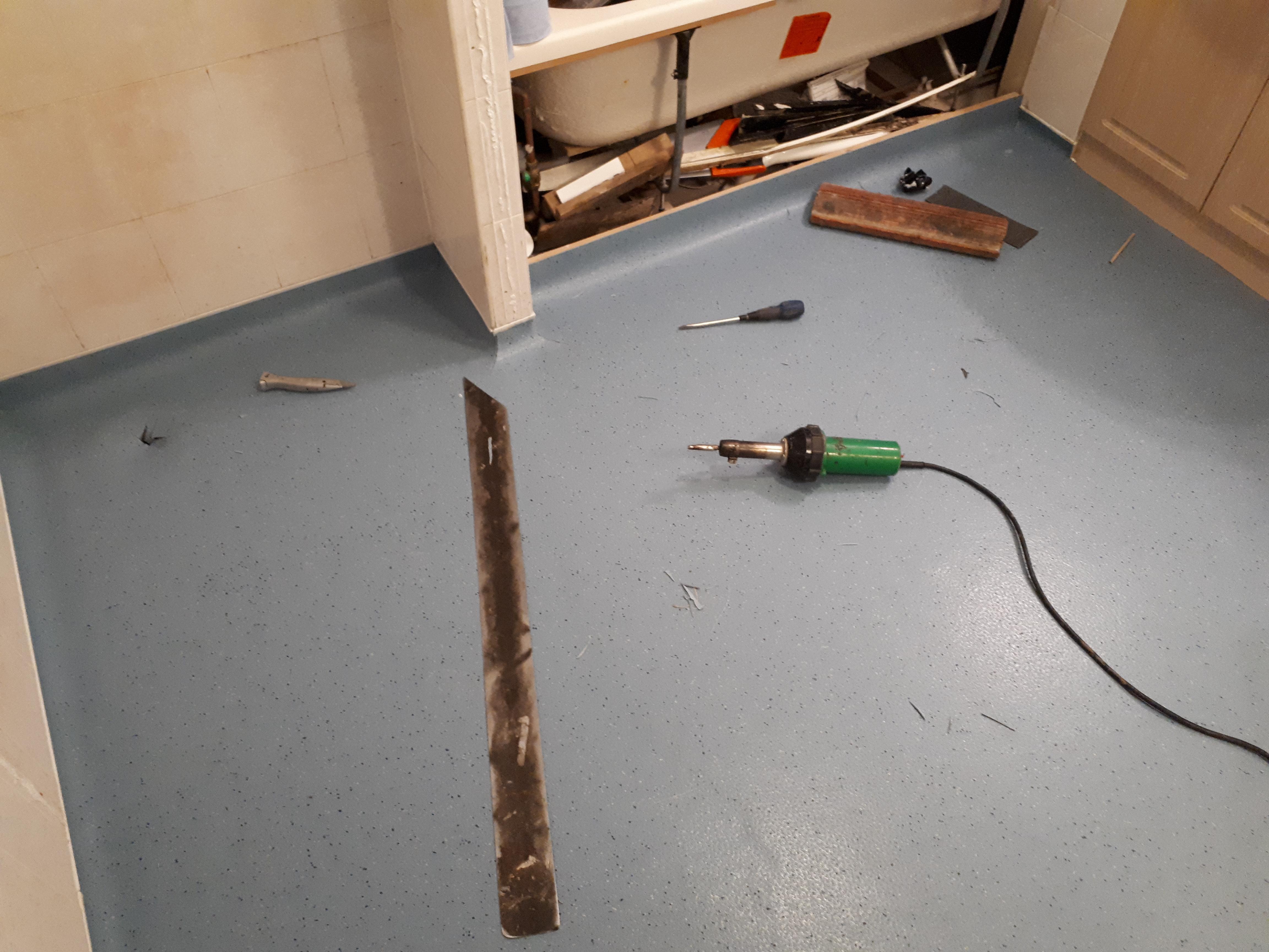 Wet room safety flooring welding